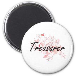 Treasurer Artistic Job Design with Butterflies 6 Cm Round Magnet