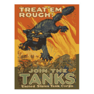 Treat em Rough Join tanks United States Tank Corps Postcard