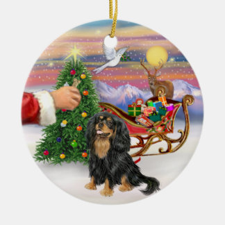 Treat for a black and Tan Cavalier King Charles Sp Ceramic Ornament