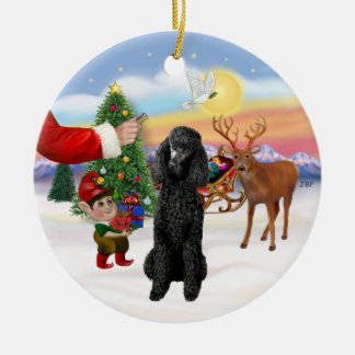 Treat for a black Standard Poodle Ceramic Ornament