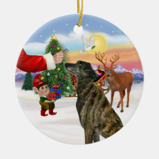 Treat for a Brindle Greyhound Ceramic Ornament