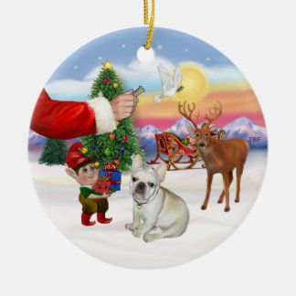 Treat for a French Bulldog Ceramic Ornament