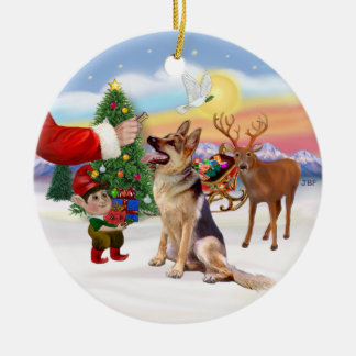 Treat for a German Shepherd Ceramic Ornament