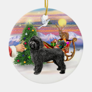 Treat for a Portuguese Water Dog (black, stand) Ceramic Ornament
