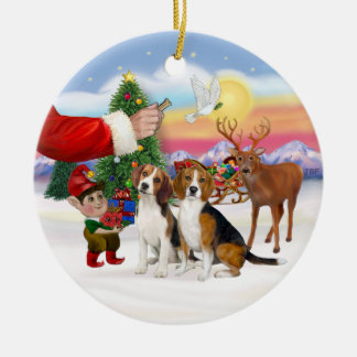 Treat for Two Beagles Ceramic Ornament