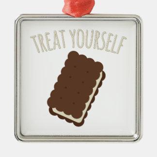 Treat Yourself Silver-Colored Square Decoration