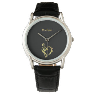 Treble and bass clef music heart love name black watch