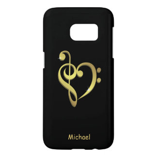 Treble clef and bass clef music heart love