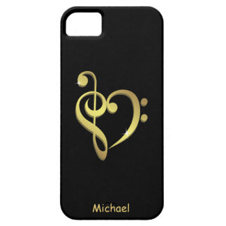 Treble clef and bass clef music heart love iPhone 5 cover