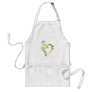 Treble clef and bass clef music heart love standard apron
