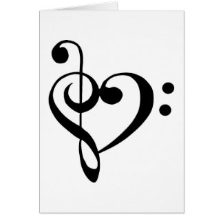 Treble Clef Base Clef Heart Card