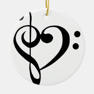 Treble Clef Base Clef Heart Ceramic Ornament