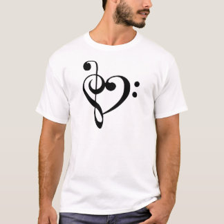 Treble Clef Base Clef Heart T-Shirt