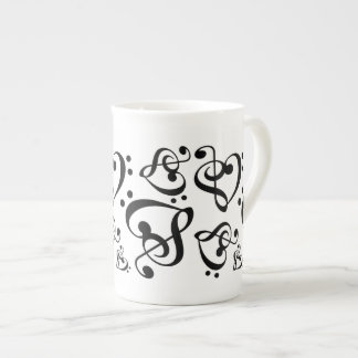 Treble Clef Bass Clef Heart Music Notes Tea Cup