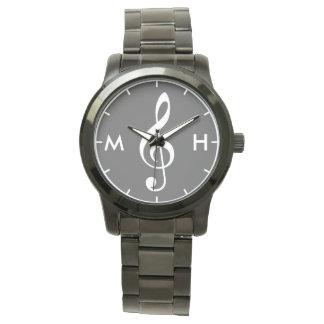 treble clef black white personalized initials watch