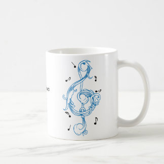 Treble clef blue scrollwork sol note key coffee mug