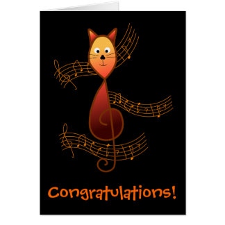 Treble Clef Cat Card