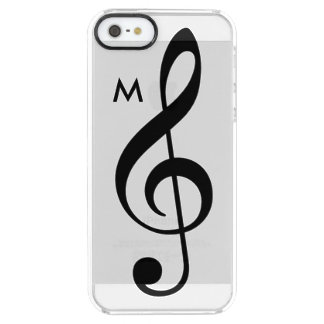 treble clef clear case with custom initial