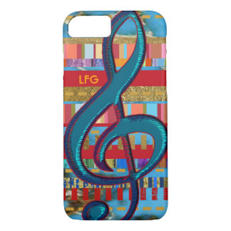 treble-clef & colorful-stripes personalized iPhone 7 case