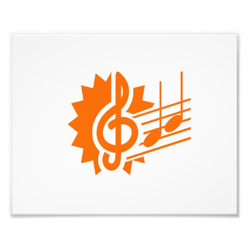treble clef eighth notes staff graphic orange.png photo print