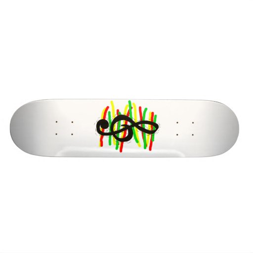 Treble Clef Graphic Black with Red Yellow Green Skate Board Deck