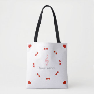 treble clef & love hearts with name, music tote bag