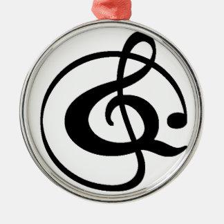 Treble clef metal ornament