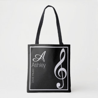 treble clef music black tote bag