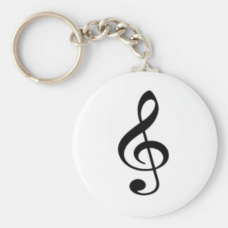 Treble Clef Music Note Basic Round Button Key Ring