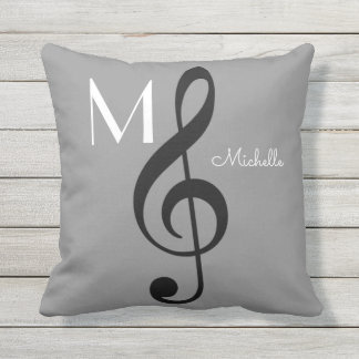 treble clef music note monogrammed gray outdoor cushion