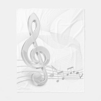 Treble Clef Music Notes Fleece Blanket