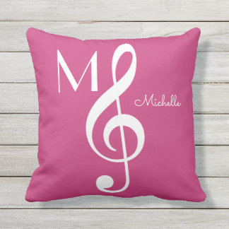 treble clef musical note monogrammed pink outdoor cushion