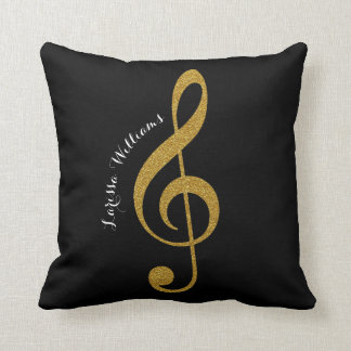 treble clef musical note with her name gold & blk throw pillow