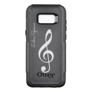 treble clef, personalised music OtterBox commuter samsung galaxy s8+ case