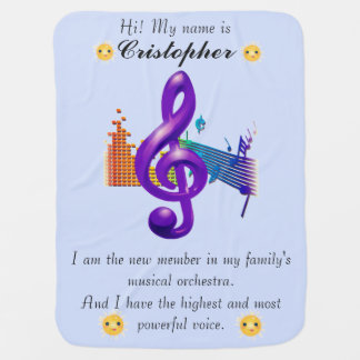 Treble Clef Purple Beautiful Design Baby Blanket