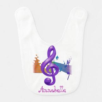 Treble Clef Purple Elegant White - Customization Bib