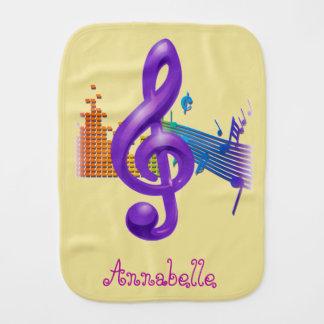 Treble Clef Purple Elegant Yellow - Customization Burp Cloth