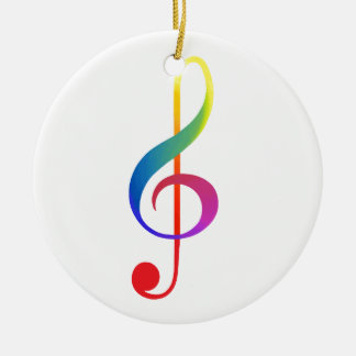 treble clef rainbow colours ceramic ornament