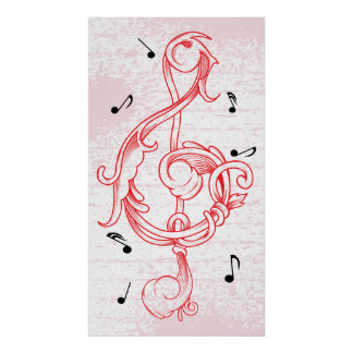treble clef Red scrollwork sol note key poster