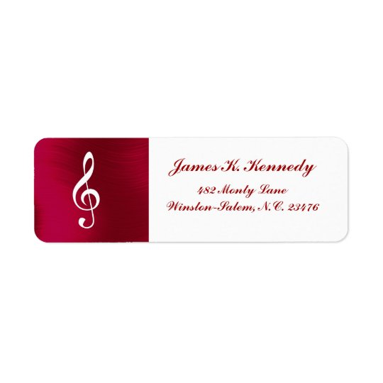 TREBLE CLEF -RETURN ADDRESS  LABEL