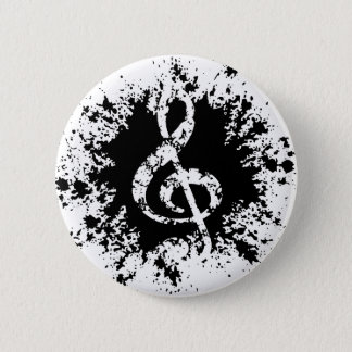 Treble Clef Splat 6 Cm Round Badge