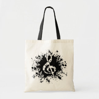 Treble Clef Splat Canvas Bag