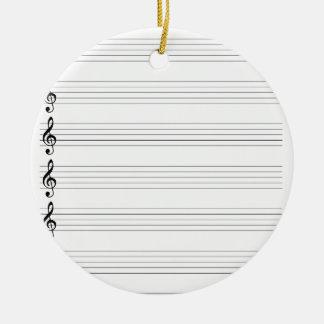 Treble Clef Staves Ceramic Ornament