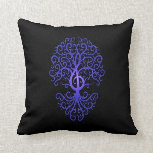 Treble Clef Tree, blue & black Pillows