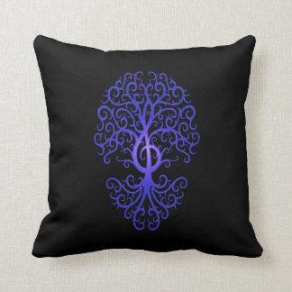 Treble Clef Tree blue black Pillows
