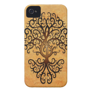 Treble Clef Tree, brown Case-Mate iPhone 4 Cases