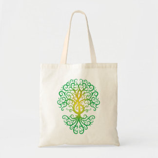 Treble Clef Tree green Tote Bags