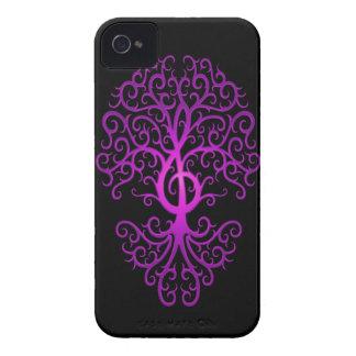 Treble Clef Tree, purple & black iPhone 4 Case