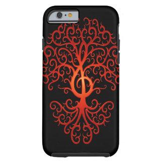 Treble Clef Tree, red & black Tough iPhone 6 Case