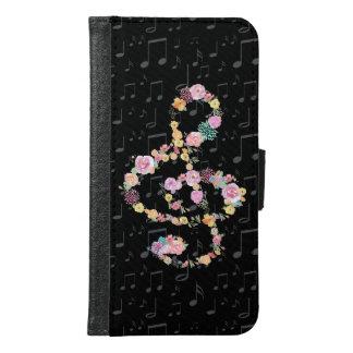 treble clef watercolor flowers samsung galaxy s6 wallet case